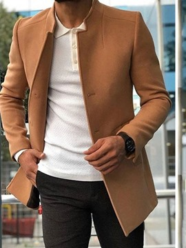 Ericdress Plain Mid-Length Stand Collar Fall European Men's Coat