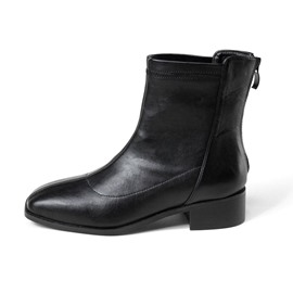 Ericdress Plain Back Zip Square Toe Cotton Boots