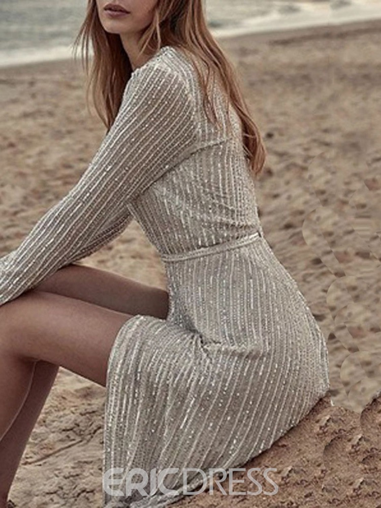Ericdress Long Sleeve Sequins Floor-Length Pullover Plain Dress
