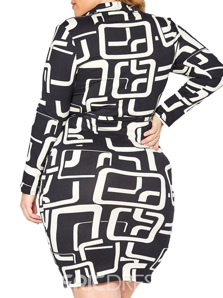 Ericdress Lapel Above Knee Long Sleeve Bodycon Pullover Dress