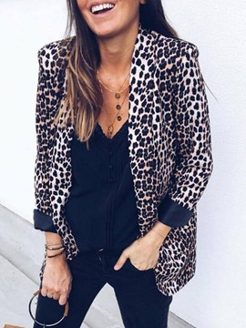 Ericdress Leopard Wrapped Long Sleeve Mid-Length Regular Casual Women's Blazer