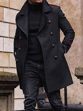 Ericdress Mid-Length Color Block Lapel Double-Breasted Men's Coat