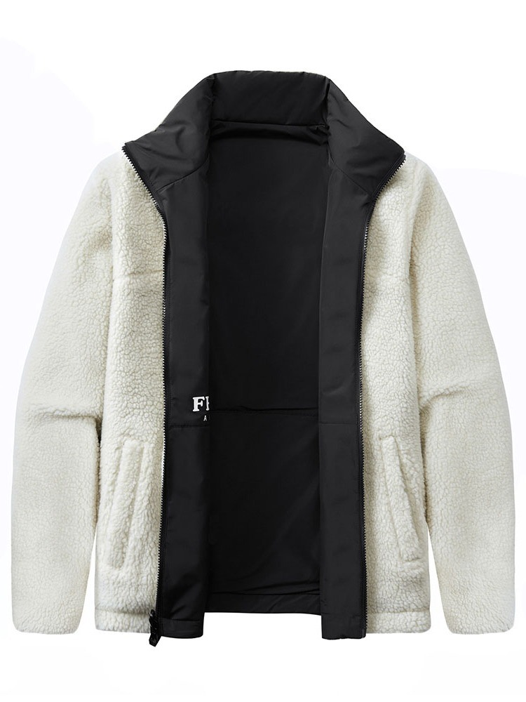 Ericdress Stand Collar Thick Letter Casual Men's Slim Jacket