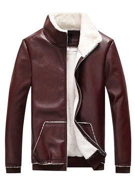 Ericdress Standard Stand Collar Korean Pocket Leather Jacket