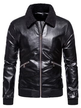 Ericdress Lapel Plain Standard Winter Patchwork Leather Jacket