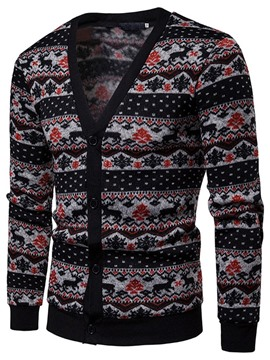 Ericdress V-Neck Standard Floral Men's Casual Fall Sweater