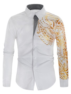 Ericdress Casual Lapel Patchwork Men's Slim Shirt