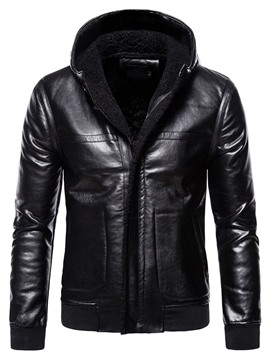 Ericdress Hooded Standard Plain European Winter Leather Jacket