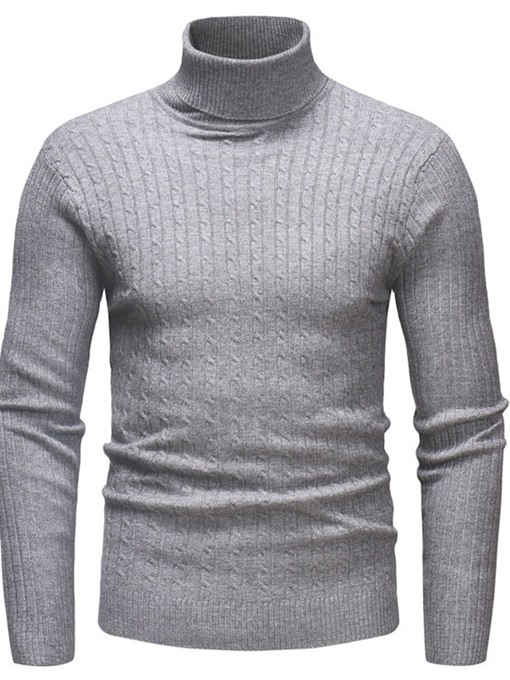 Ericdress Plain Standard Turtleneck Casual Men's Slim Sweater
