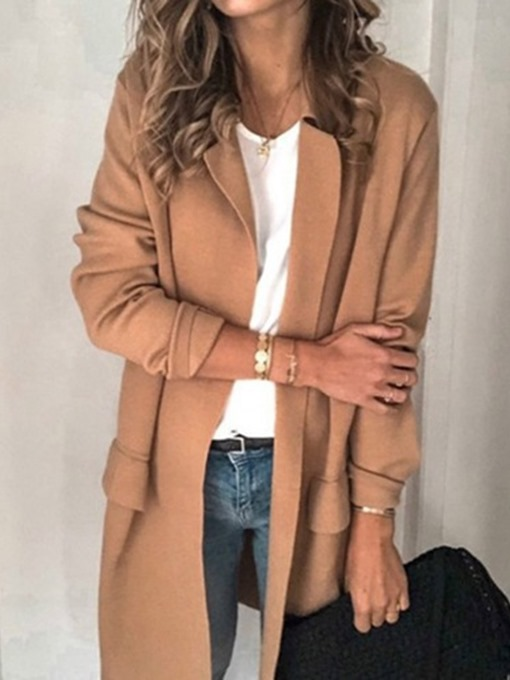 Ericdress Long Sleeve Notched Lapel Plain Regular Mid-Length Casual Women's Blazer