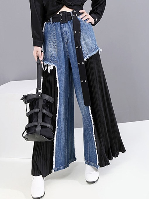 Ericdress Zipper Color Block Mid Waist Zipper Jeans