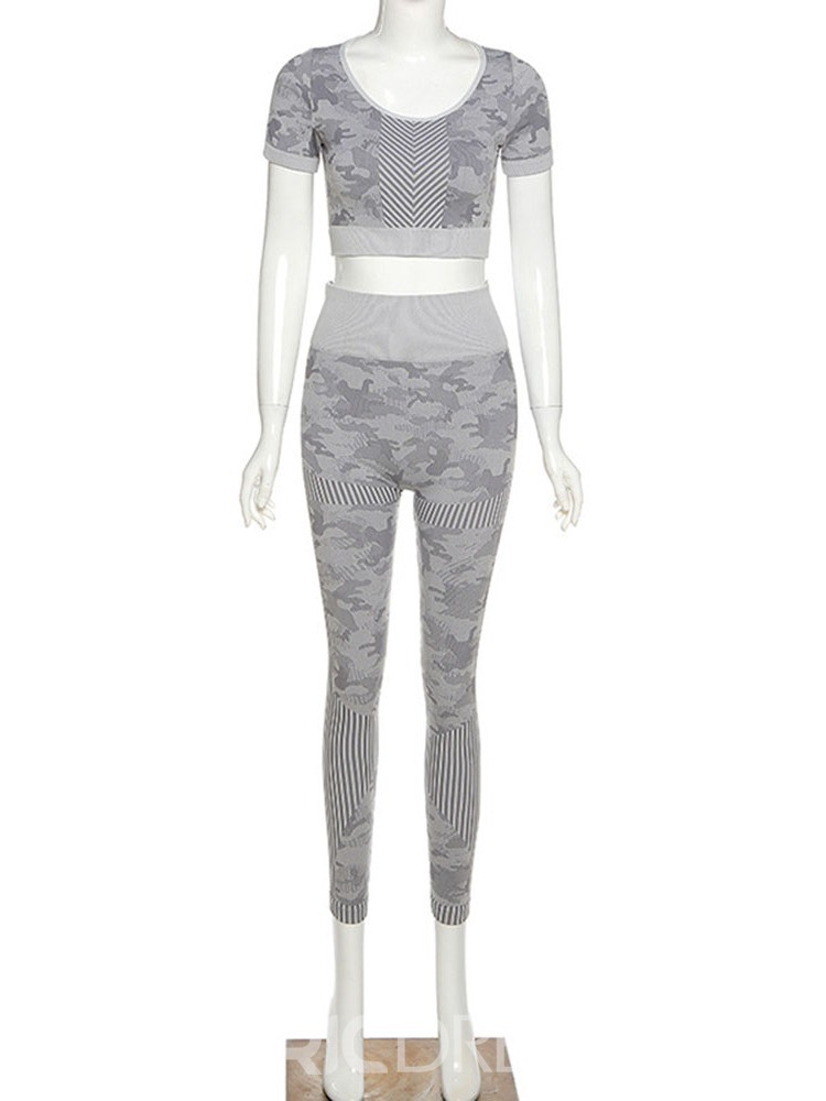 Ericdress Print Camouflage Anti-Sweat Polyester Pullover Short Sleeve Clothing Sets