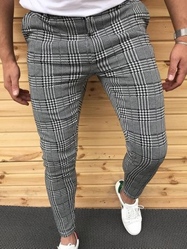 Ericdress Print Pencil Pants Plaid Spring Mid Waist Casual Pants