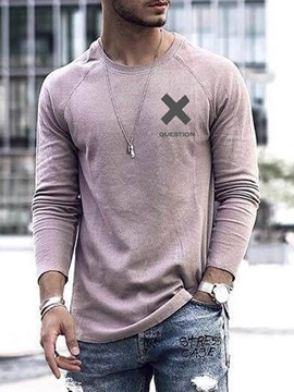 Ericdress Casual Letter Round Neck Slim Pullover T-shirt