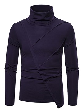 Ericdress Turtleneck Asymmetric Plain Pullover Slim T-shirt