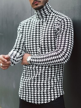 Ericdress Houndstooth Casual Turtleneck Slim Long Sleeve T-shirt