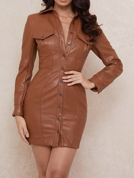 Ericdress Lapel Above Knee Hollow Plain Single-Breasted Dress