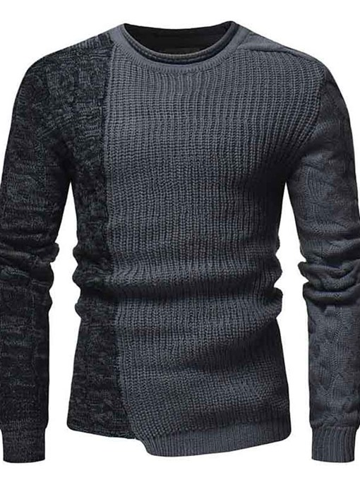 Ericdress Color Block Standard Round Neck Casual Fall Sweater