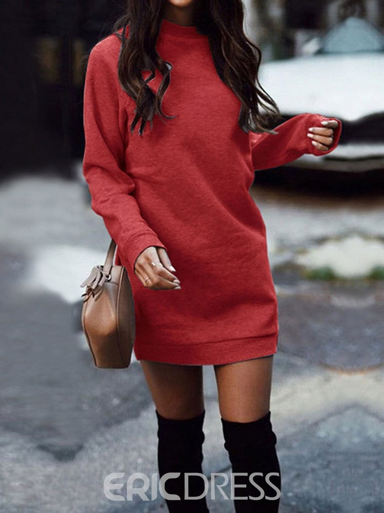 Ericdress Long Sleeve Above Knee Stand Collar Casual Winter Dress