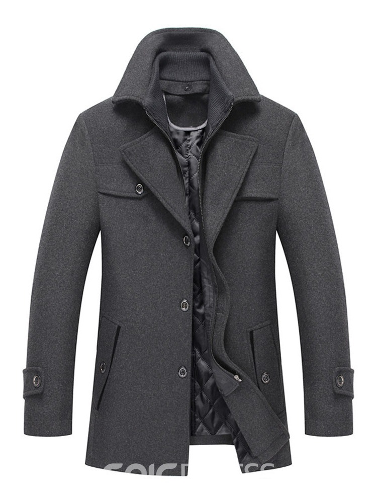 Ericdress Button Plain Lapel Single-Breasted Winter Coat