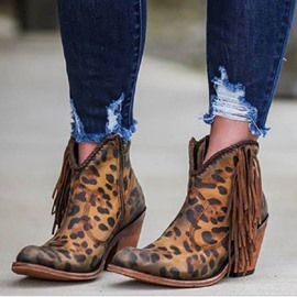 Ericdress Pointed Toe Chunky Heel Leopard PU Boots