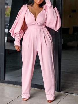 Ericdress Plus Size Pleated Full Length Fashion Slim High Waist Jumpsuit