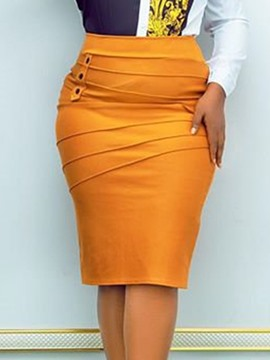 Ericdress Plain Knee-Length Bodycon Office Lady High Waist Skirt