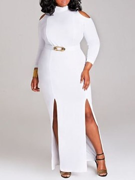 Ericdress Plus Size Stand Collar Nine Points Sleeve Office Lady Asymmetrical Dress