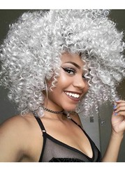 Ericdress Afro Curly Womens Medium Hairstyles Synthetic Hair Capless Wigs 16Inch