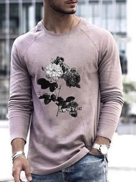 Ericdress Round Neck Print Casual Long Sleeve Men's Pullover T-shirt