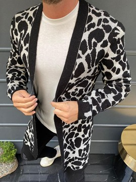 Ericdress Mid-Length Leopard Patchwork Fall Men's Casual Sweater