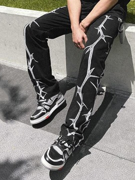Ericdress Print Straight Fall Mid Waist Casual Pants