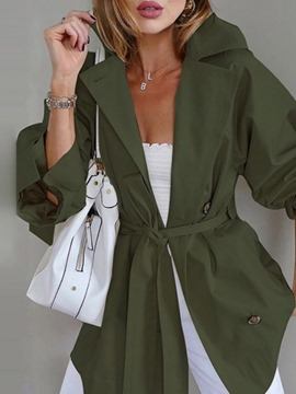 Ericdress Mid-Length Button Single-Breasted Long Sleeve Fall Trench Coat