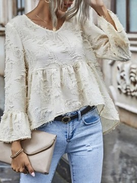 Ericdress Plain V-Neck Tassel Standard Long Sleeve Blouse