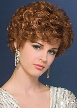 Ericdress New Design Women's Blonde Curly Cropped Synthetic Hair Comfortable Capless Wigs 8Inch