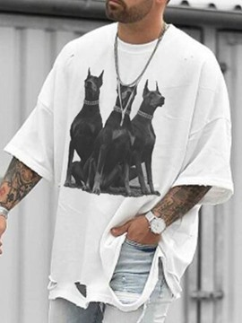 Ericdress European Animal Round Neck Three-Quarter Sleeve Men's Pullover T-shirt