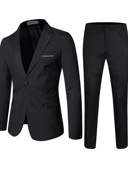Ericdress Formal One Button Pants Men's Dress Suit