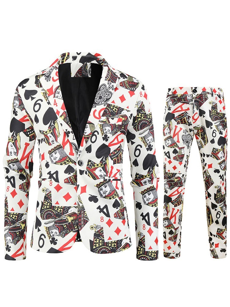 Ericdress Casual Print One Button Dress Suit