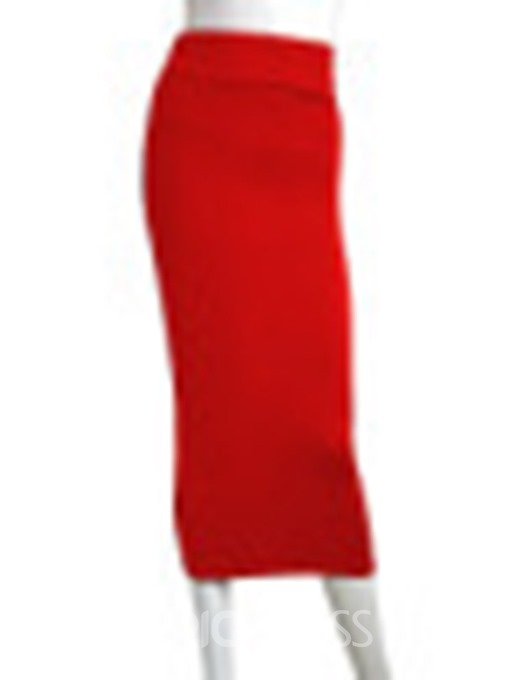 Ericdress Mid-Calf Bodycon Plain Sexy Skirt