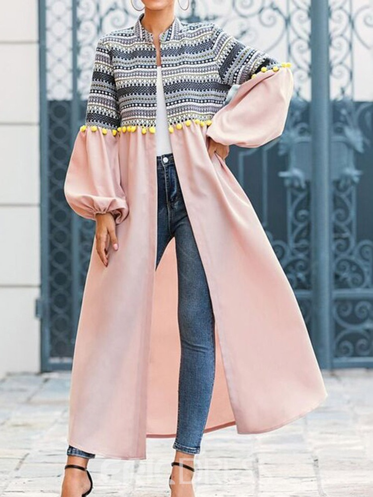 Ericdress Stand Collar Long Patchwork Loose Fall Trench Coat