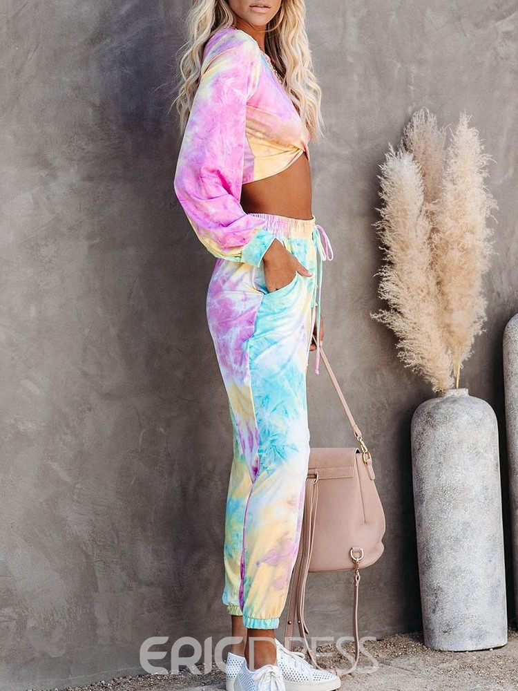 Ericdress Print Breathable Polyester Color Block Pullover Yoga Clothing Sets