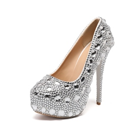 Ericdress Rhinestone Stiletto Heel Round Toe 14cm Thin Shoes