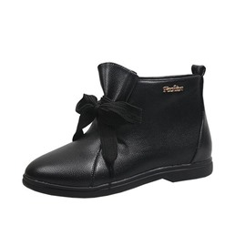 Ericdress Lace-Up Front Round Toe Block Heel PU Boots