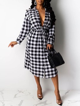Ericdress Long Sleeve Lapel Mid-Calf Plaid Date Night/Going Out Dress