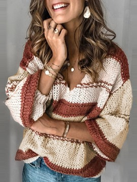 Ericdress Thin Patchwork Loose V-Neck Sweater