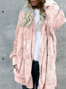 Ericdress Hooded Plain Mid-Length Winter Slim Faux Fur Overcoat