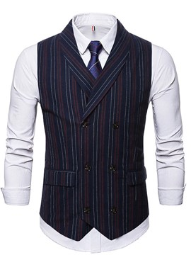 Ericdress Stripe Pocket OL Double-Breasted Men's Waistcoat