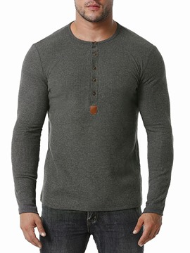 Ericdress Patchwork European Round Neck Pullover Men's Long Sleeve T-shirt