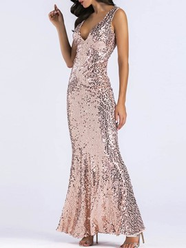 Ericdress Sequins V-Neck Sleeveless Plain Dress
