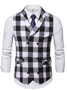 Ericdress Pocket Lapel Plaid Double-Breasted Fall Men's Waistcoat